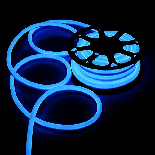 (DELight 50 FT 110V Blue Flexible LED Neon Rope Light Indoor Outdoor Holiday Valentines Party Decoration Lighting )
