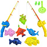 NiGHT LiONS TECH 9 Pcs Bath Toys Set Summer Beach Toy Magnetic Fishing Toys Waterproof Floating Fish Play Sets - Learning Education Toy Set for Kids