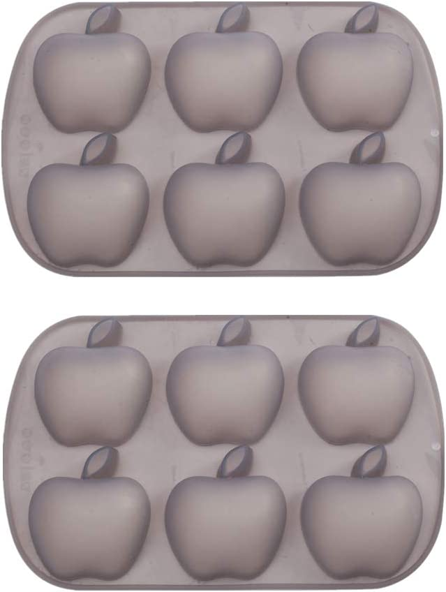 Mirenlife 6 Cavity Apple Shape Non Stick Silicone Pan for Cake, Cupcake, Chocolate, Pastry, Muffin, Bread, Big Ice Cube, Soap, and More, Set of 2