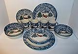 Tienshan Spongeware Cabin in the Snow 16 Piece Dinner Set