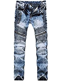 Men Ripped Biker Hole Hip Hop Denim Straight punk rock jeans Pants