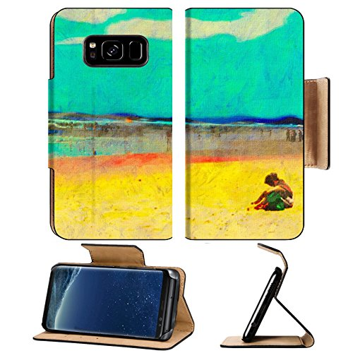 Liili Premium Samsung Galaxy S8 Plus Flip Pu Leather Wallet Case original oil painting of gold coast surfers paradise beach people Photo 8031330 Simple Snap - Paradise Stores Surfers