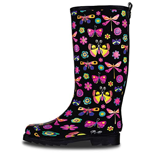 LONECONE Women's Patterned Mid-Calf Rain Boots, Butterfly Boots, 8
