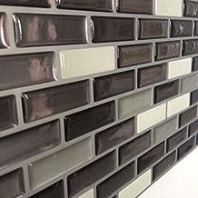 Vinyl Wall Tile Sticker PU 3D Dome Peel and Stick Wall Brick Kitchen or Bathroom Backsplash, Pack of 10