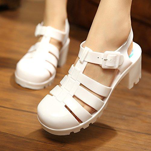 SHOESHAOGE Bottes De Pluie Chaussures De Plage Sandales En Plastique Femelle High-Heeled Jelly Romain, Chaussures Chaussures Trou Trou-Antidérapant EU36
