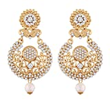 I Jewels Gold Plated Earrings For Women E2336W (White)