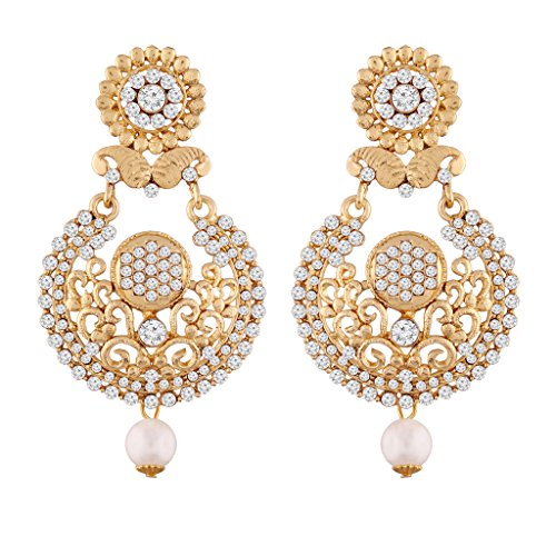I Jewels Gold Plated Earrings For Women E2336W (White) by I Jewels