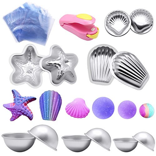 Bath bomb mold kit ,Yotako DIY Metal Bath Bomb Shapes 6 Sets 12 Pieces with 50 Shrink Warp Bags and 1 Pieces Mini Heat Sealer for Bath Bomb Making ,Handmade Soaps and Crafts ()