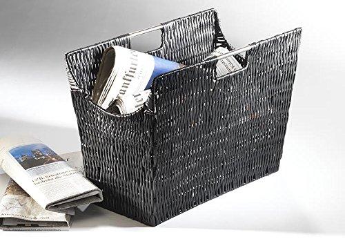 Zeitungsständer Magazinsammler Zeitschriftenkorb Zeitungsständer schwarz aus Kunststoffgeflecht
