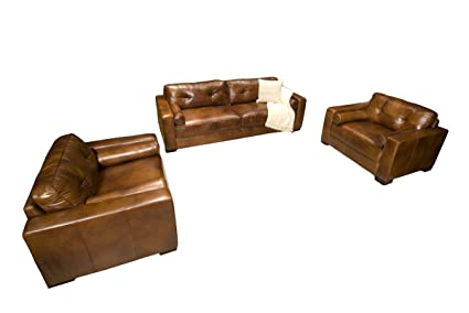 Amazon Com Elements Soho Top Grain Rustic Leather Furniture