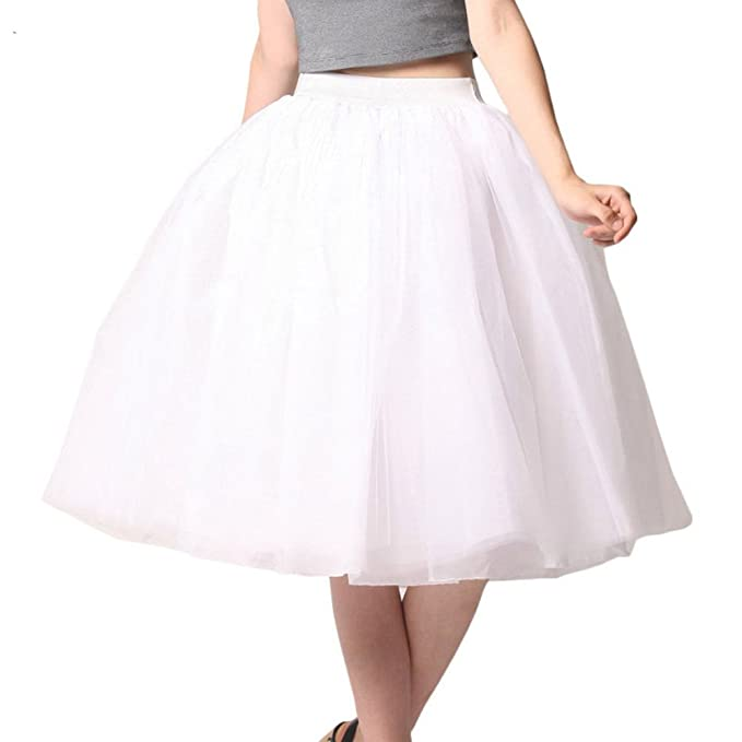 53ca38533f Leslie Brown · Women A Line Knee Length Tulle Skirt Formal Tutu for Prom  Party Wedding
