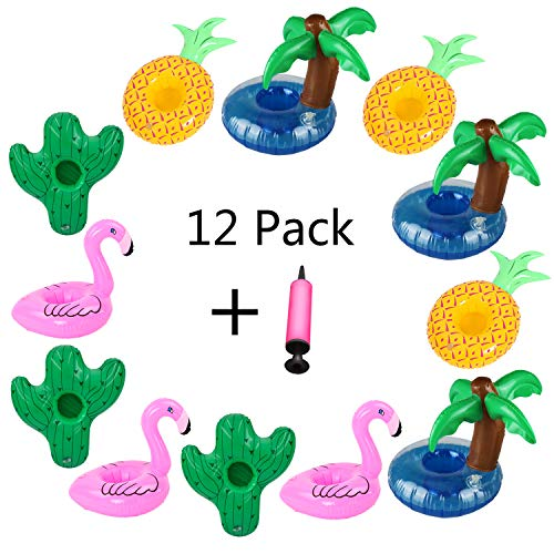 Aoutacc Floating Drink Holders, 12 Pack Inflatable Palm Tree Flamingos Pineapple Cactus Drink Cup Holders Pool Cup Holders Coasters for Summer Pool Party and Kids Fun Bath Toys