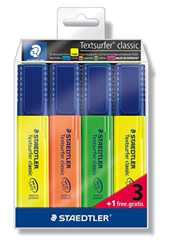 Staedtler Textsurfer classic 364-S WP4P Subrayador, 4 unidades, en funda de plástico blando