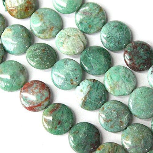 Natural Green Dragon Blood Jasper Coin Gemstone Beads for Jewerly Bracelet Making (20mm)