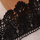 9CM Width Europe Crown pattern Inelastic Embroidery Lace Trim,Curtain Tablecloth Slipcover Bridal DIY Clothing/Accessories.(2 yards in one package) (Black)