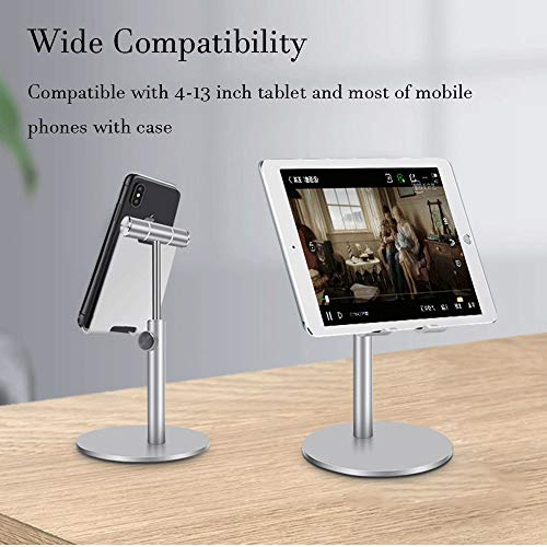 XeeDoo (2020 Upgraded) Phone Stand Holder for Desk, Adjustable Universal Holder Aluminum Solid Potable Compatible with iPhone /iPad/ Smart Cell Phone/ Tablet (4-13inch) Silver