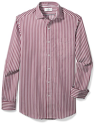 Stripe Mens Shirt Classic (BUTTONED DOWN Men's Classic Fit Supima Cotton Spread-Collar Dress Casual Shirt, Burgundy/White Large Bengal Stripe, M 32/33)