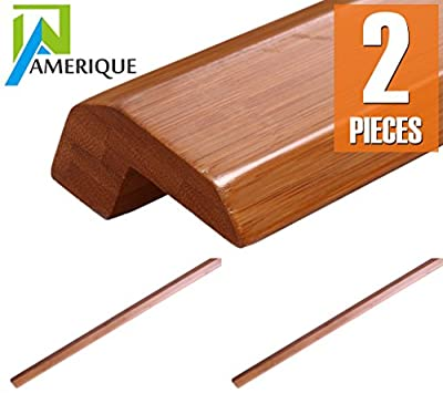 """AMERIQUE 12' Linear Pre-Finished Solid Horizontal Carbonized Bamboo Threshold Moldings, 72"""" L x 2.25"""" W x 2"""" H, 2 Piece"""