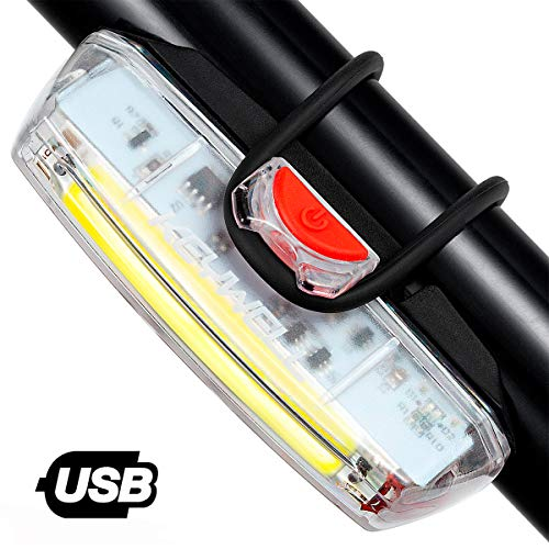 KEYWELL USB Rechargeable Bike Headlight-Super Bright LED Bicycle Front Light with Low Battery Indicator and Modes Memory Functions-Powerful Lumens for Cycling Safety Flashlight (White) ()