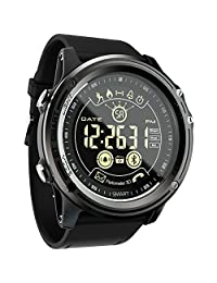 Sport Digital Smart Watch - LOKMAT Men Boy Waterproof Bluetooth Smart Wrist Watch, Smartwatch with Walking Steps/Walking Calories,Remote Camera , Call/SNS/SMS Reminder for IOS and Android Smartphone (Black)
