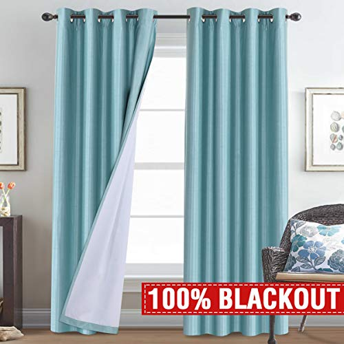 H.VERSAILTEX 100% Blackout Thermal Insulated Curtains Faux Silk Curtain Drapes Noise Reducing & Energy Saving Window Treatment Panels for Kids Room/Nursery, 52