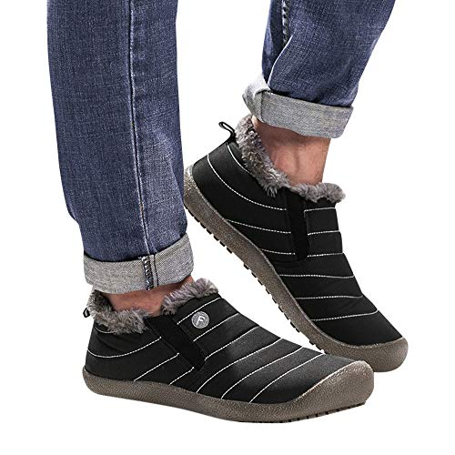 Boat Booties Padded Ankle Cotton Warm Slip Waterproof Non Boots Womens Mens Lining Quilted Lazzboy Plush Snow Unisex Shoes Black w6X0gzq