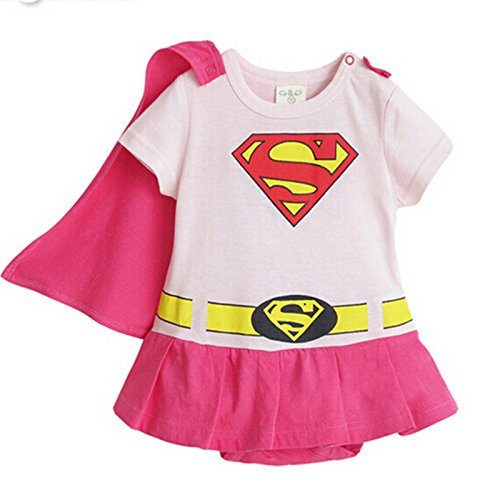 SUPERMAN SUPER GIRL BABY GROW FUNKY CUTE FANCY DRESS OUTFIT GIFT (2-24 MONTHS) (95cm(18-24M), SUPERGIRL PINK SHORT -