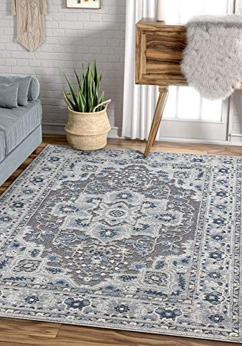 Well Woven Malaga Georgina Global Persian Medallion Grey Area Rug, 5 3 x 7 3