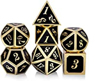 DNDND Metal Dice Set D&D, 7 die Metal Polyhedral Dice Set with Gift Metal Box and Gold Number for DND Dung
