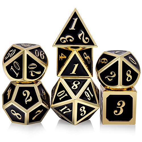 Metal Dice Set DND, 7 die Metal Polyhedral Dice Set with Metal Box Black Color and Gold Number for Role Playing Game Dungeons and Dragons D&D Pathfinder Shadowrun and Math Teaching ()