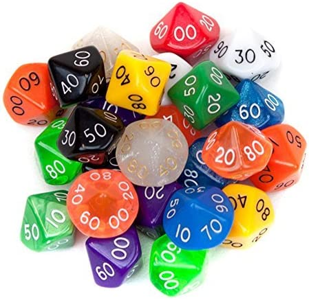 25 Pack of Random D10(00) Polyhedral Dice in Multiple Colors by Wiz Dice by Wiz Dice: Amazon.es: Juguetes y juegos
