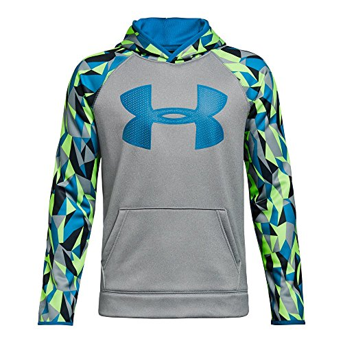 Logo Hoody Jacket - Under Armour Boys' Storm Armour Fleece Big Logo Printed Hoodie,True Gray Heather (025)/Cruise Blue, Youth Medium