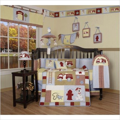 GEENNY Boutique 13 Piece Crib Bedding Set, Baby Boy Firetruck