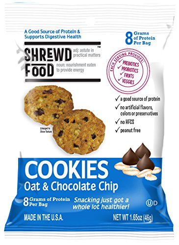 Shrewd Food Oat and Chocolate Chip Cookies | Great Tasting High Protein Cookie | 1 Billion CFU Pre and Probiotics | 1 Serving of Fruits and Veggies | 9 Pack by Shrewd Food