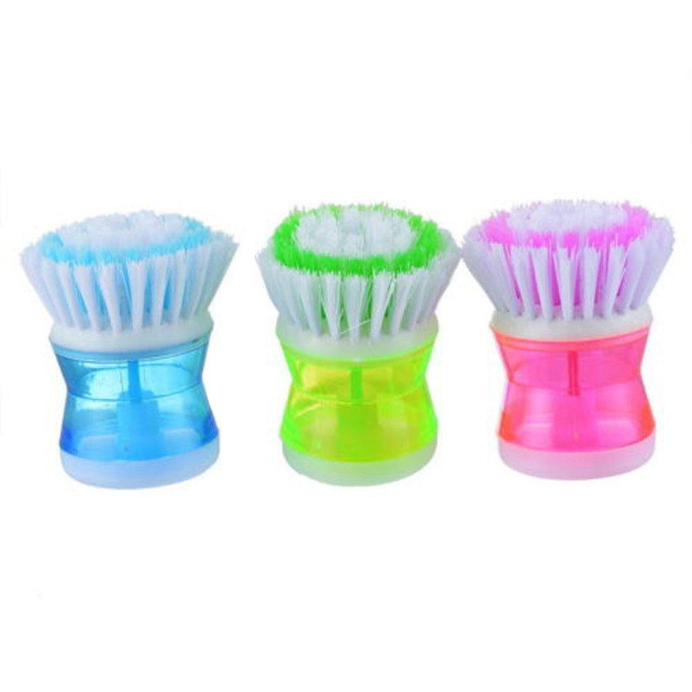 Quaanti New Arrival Kitchen Dish Washing Brush Utensils Pot Dish Brush with Washing Up Liquid Soap Dispenser Plastic (Random)