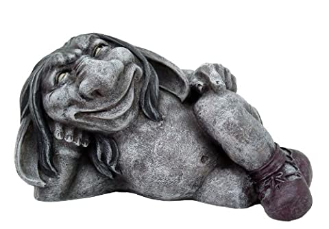 5.5 Inch Funny Face Gargoyle with Boots Laying Down Statue Figurine (Funny Gargoyles)