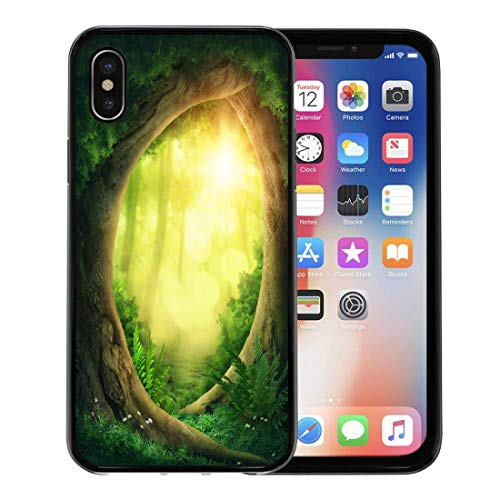 Emvency Phone Case for Apple iPhone Xs Case/iPhone X Case,Fairy Green Dreamy Dark Magic Forest Sunshine Yellow Enchanted Soft Rubber Border Decorative, Black ()