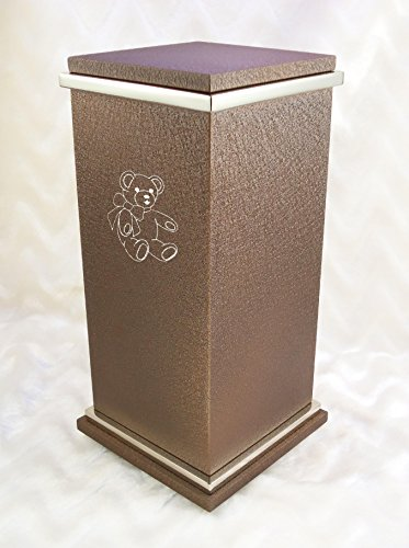 (PERSONALIZED Custom Engraved Teddy Bear Cremation Urn Vault by Amaranthine Urns, made in the USA, Peyton RG Painted Silver (up to 250 lbs living weight) (Cast Bronze))