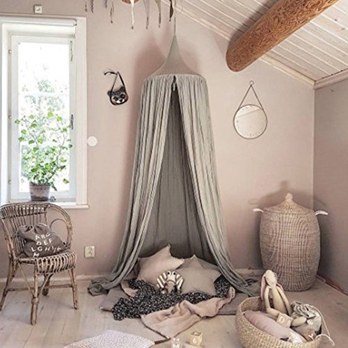 Adarl Baby Bedding Round Dome Bed Canopy&Draper Bedcover Cotton Linen Mosquito Net Grey-24050cm/94.519.7inch by Adarl
