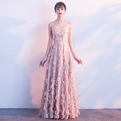 Kleid Brautjungfer gediegene Edle MoMo Langen Weiblich Sexy Rock Elegante Bankett Abendkleid Atmosphäre Absatz Rosa Rosa EwT5qZ