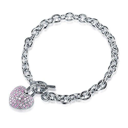 BERRICLE Rhodium Plated Base Metal Cubic Zirconia CZ Heart Toggle Fashion Charm Bracelet 7.5
