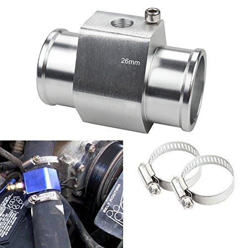 (Dewhel Aluminum Silver Water Temp Meter Temperature Gauge Joint Pipe Radiator Sensor Adaptor Clamps 26mm)