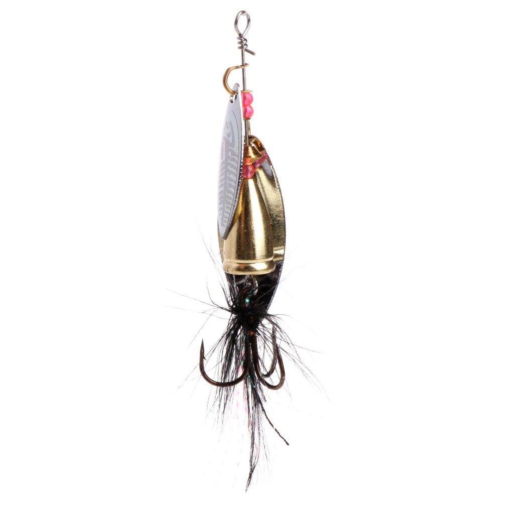 Lergo - Señ uelo de Pesca de Metal con Lentejuelas, Cuchara giratoria, cebos, Plumas, Anzuelo de Pesca, 7,8 cm, 11 g
