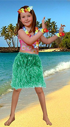 dazzling toys Halloween Costume Set Flower Leis Set Streamer Skirt (Adjustable at Waist) Necklace, Choker and Bracelet ()