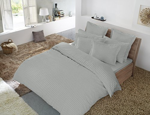 "Dormisette Luxury German Flannel Sheets & Pillowcases Set, 4 Piece, Light Gray Heather Double Pinstripe (Full) - Full set: 1 flat sheet (81"" x 96""), 1 fitted sheet (54"" x 75""), 2 standard pillowcases (20"" x 30"") Luxury 200 GSM heavyweight 6-ounce flannel sheets made with high quality, preshrunk 100% cotton with soft velvety feel 100% cotton flannel, machine washable - sheet-sets, bedroom-sheets-comforters, bedroom - 51sF32Z%2B2sL -"