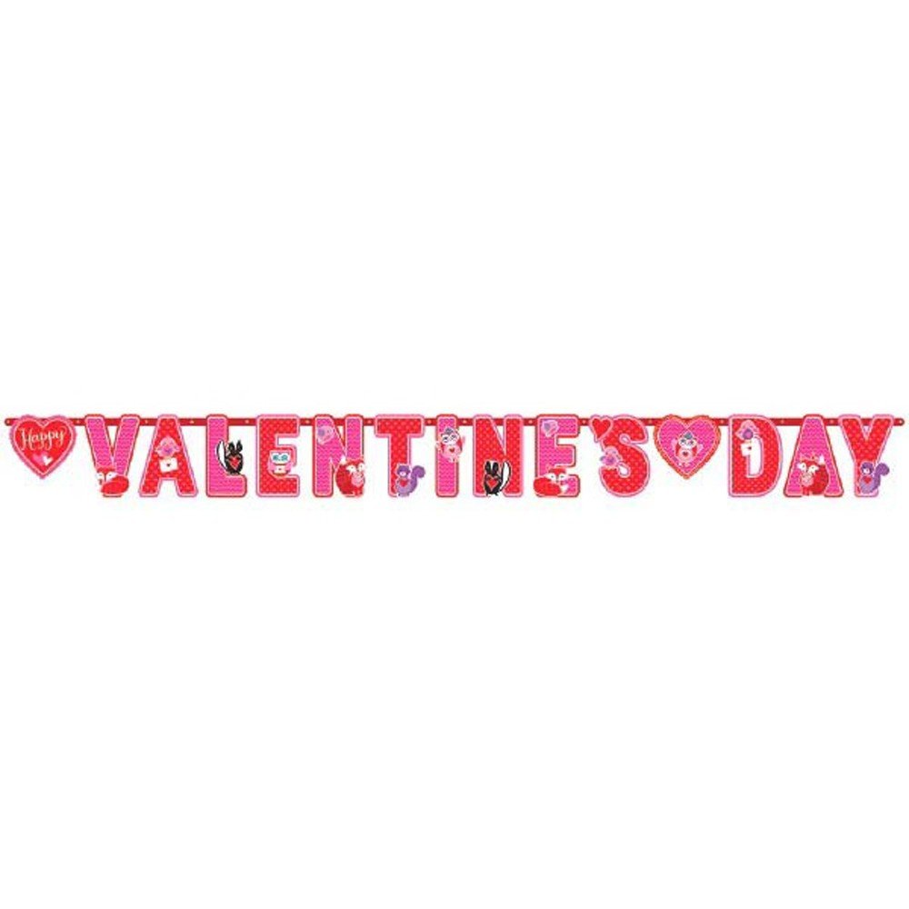 Valentine Decorations - Complete Set of Hanging Swirls, Bulletin Board Cutouts and Banner - Fun for Kids on Valentine's Day