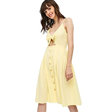 03ab0ee1e132 ZAFUL Women's Spaghetti Straps Smocked Tie Knotted Front Cami Dress(Lemon  Yellow ...