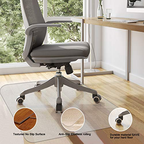 MATDOM Office Chair Mat for Hardwood Floor,60''×47'' Great Clear Vinyl Hard Floor Mat With Smooth Surface, Anti-Slip Thick And Sturdy Desk Floor Protective Mats