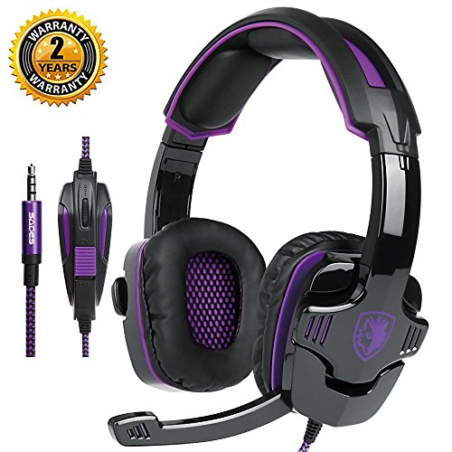 Game Headset Gaming Headphone Noise Cancelling Over Ear Headset SADES SA-930 3.5mm Stereo Sound Music with Mic Volume Control Gamer Headphone for PS4 New Xbox One Laptop Tablet PC Mobile