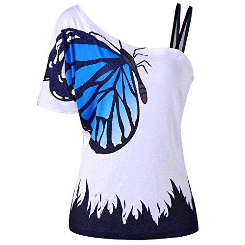 vermers Women Cami Shirt Plus Size Butterfly Print Strapless Blouse Short Sleeve Tops (Blue, L)